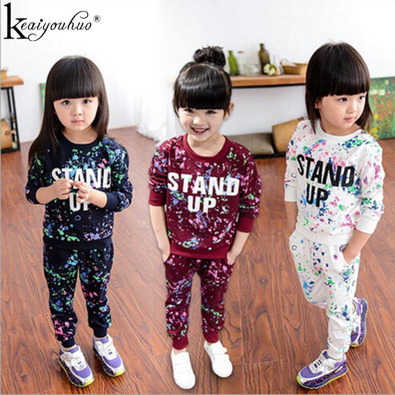 Toddler Kız Elbise Setleri Çocuklar Için 2 adet Uzun Kollu Eşofman Giysi Spor Takım Elbise Çocuk Giyim Kız Setleri 3 4 5 6 7 8 yıl