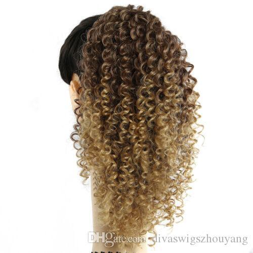 14 «» каштановый ломбера блондинка меда Afro Kinky завитые хвостик клип в наращивание волос Регулируемая Wrap String120G