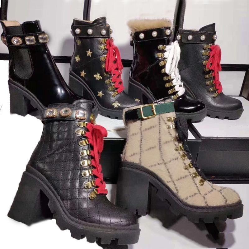 Designer Damen kurze Stiefel 100% peitschen klassische Luxux Bee Frauen-Schuh-Leder hochhackige Stiefel Fashion Diamanten Martin Stiefel Größe 35SO1c #