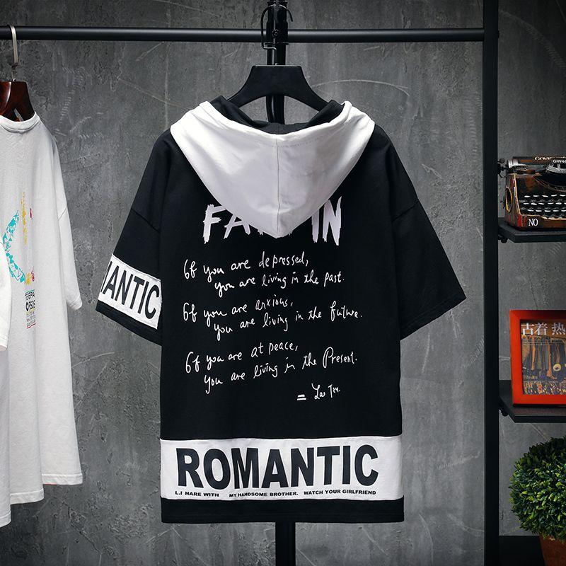 Hommes d'été T-shirts Streetwear cool Hip Hop à manches courtes avec capuche T-shirt de mode d'hommes T Lettre Imprimé Vetement Homme Camisetas T200602