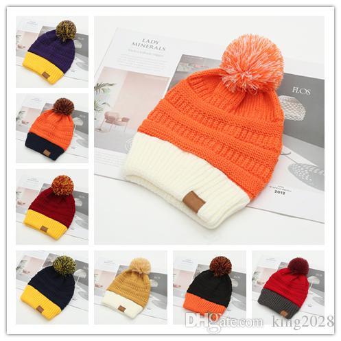 8 ألوان الشتاء أنثى الكرة كاب بوم قبعة الشتاء للنساء بنات القبعة رسالة محبوك بيني كاب قبعة سميكة المرأة سكولي بيني بوم