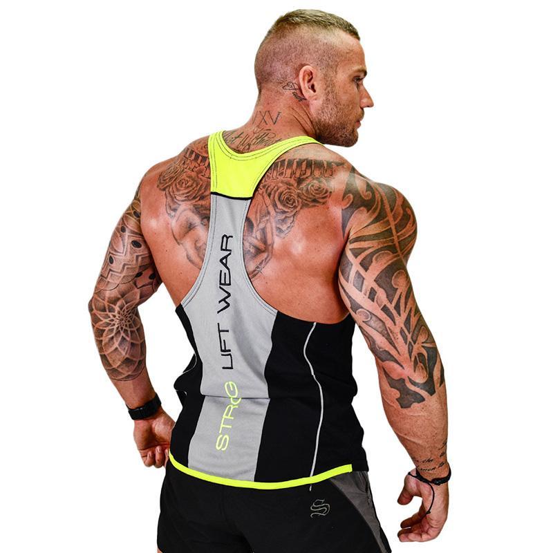 남성 보디 빌딩 탱크 탑 체육관 피트니스 민소매 셔츠 남성 운동 크로스 핏 브랜드 의류 캐주얼 일중 슬링 조끼