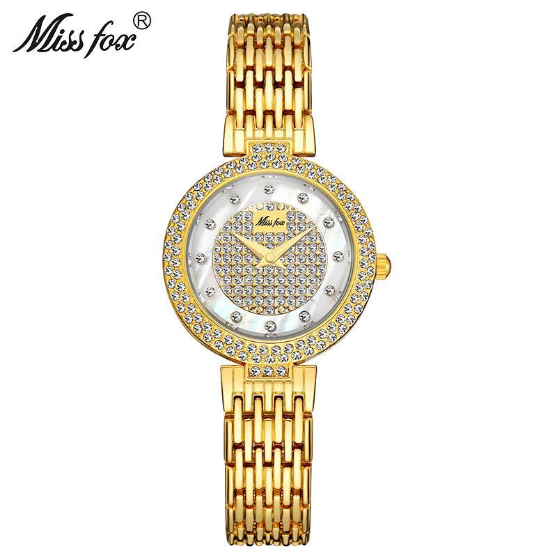 MISSFOX Женщины Смотреть Top Brand Малый набор золото Часы Женский Мода водонепроницаемый кварцевые часы Lady Party Gift Бесплатная доставка