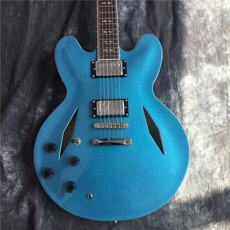Custom Shop Dave Grohl DG 335 Metallic Blue Holes Semi corpo cavo di jazz della chitarra elettrica Guitarra doppia fibbia Split Diamante Bianco MOP Inlay