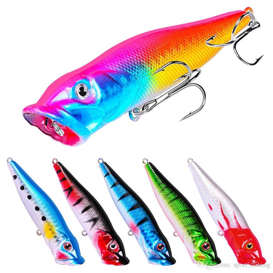 Karışık 6 Renk 8 cm 12.5g Popper Sabit yemler Yemler 4 # Kanca Balıkçılık Kancalar Balık oltaları Yapay Plastik Bait Pesca Balıkçılık Aksesuarlar Mücadele