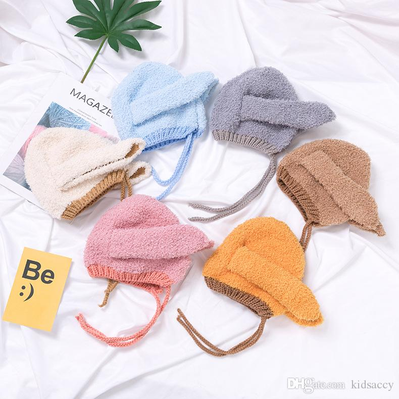 Autumn Winter Baby Cartoon Bunny Ears Hat Kids Knitted Cap Lace Up Child Warm Beanies Children Hat M215