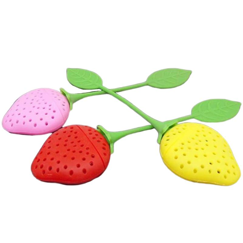 Red / Pink / Yellow Random Strawberry Silicone Tea Infusion Tea Filter Tea Set Accessories Drinking Utensils Supplies 20Pcs