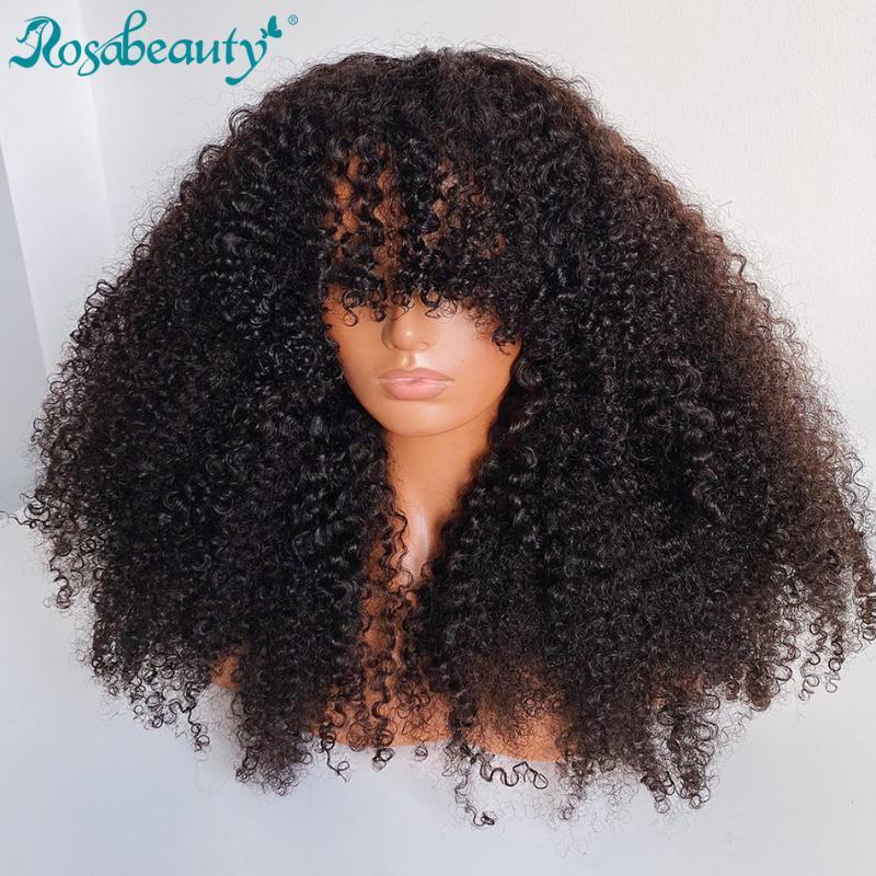 Rosabeauty Chenp Kinky Ricci Corti Bob parte anteriore del merletto parrucche dei capelli umani con capelli del bambino di Remy frontale parrucca per Black Women Onda profonda