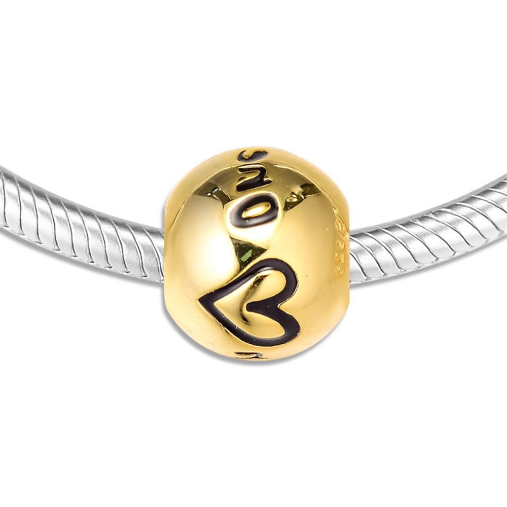 925 개 스털링 실버 비즈 여성에 적합한 독특한 매력 DIY 원래 보석 황금 빛 둥근 구슬 판도라 팔찌 펜던트