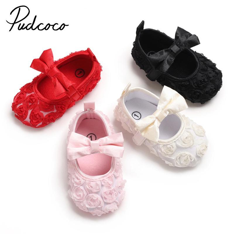 Pudcoco Baby-Schuhe Bogen-Blumen-Rose Princess Babyschuhe Erste Wanderer Neugeborene Mokassins für Mädchen
