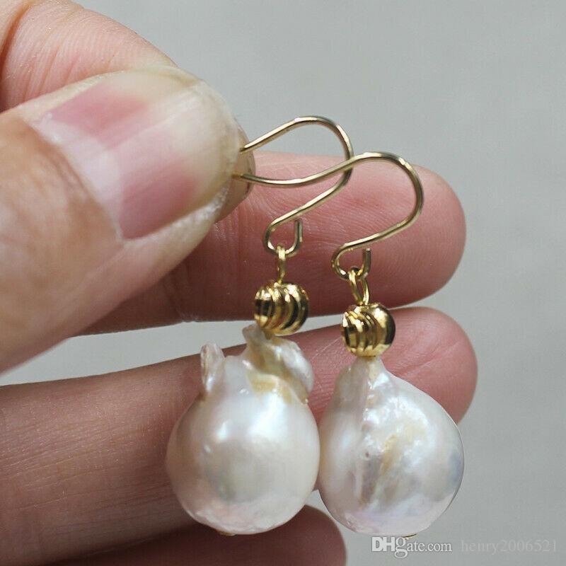 Dangle & Chandelier Real Huge 12-13mm natural south seas white kasumi pearl gem earring