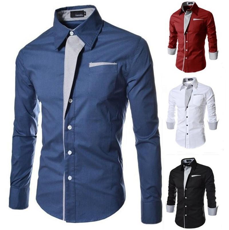 Vestir de hombre de lujo Camisa del diseñador de color sólido adelgazan las camisas casuales para hombre otoño mangas largas Tops