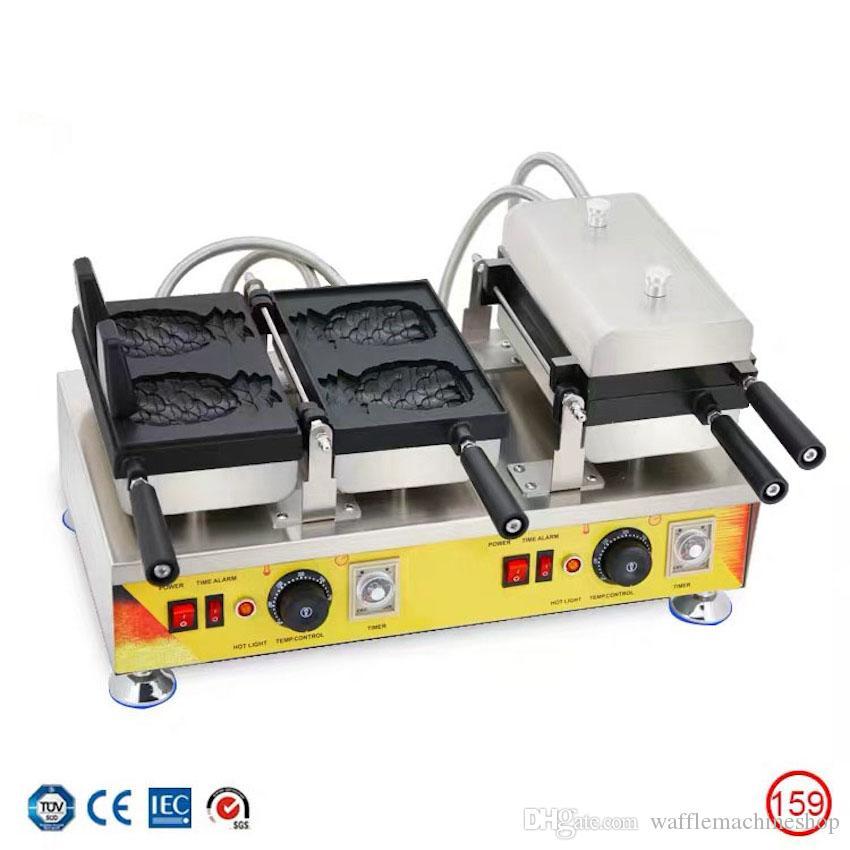 Ticari Ananas Waffle Koni Makinesi Açık Ağız Dondurma Taiyaki Makinesi Elektrikli Ananas Şekilli Waffle Kase Maker Taiyaki Pan