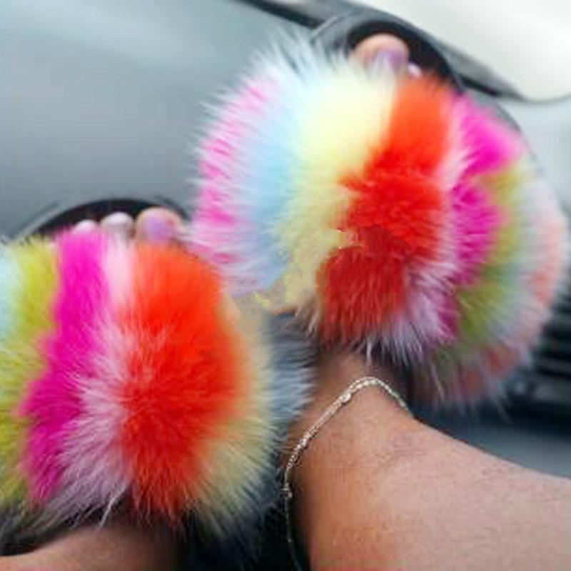 das mulheres Verão Fluffy Plush Flip Flops real Fox Fur Chinelo Mulheres Fur Slides Ladies Open Toe Furry Sandals Casa Shoes Hot