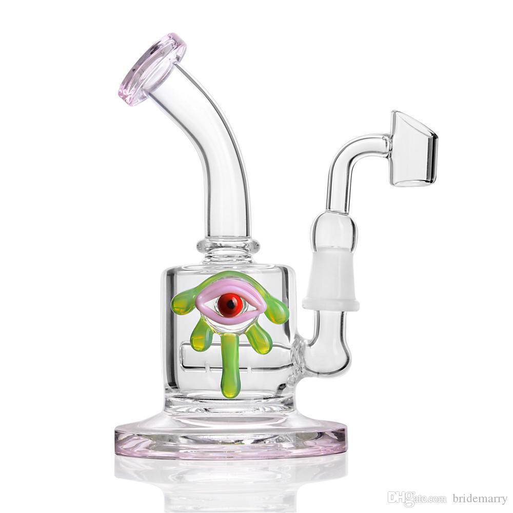 Rosa Glas Bong Dab Rigs Alien Augen Recycler Becher Bong Wasserpfeife Beaker Bong Bohrinsel 14mm Female Joint Banger Glas Wasser Bongs