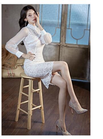temperamento Celebrity sottile cucitura lungo see-through vestito dall'anca del sacchetto di pizzo