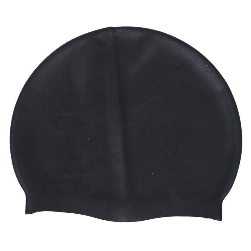 Preto suave silicone Esticável Nadar Natação Cap Hat para Adultos