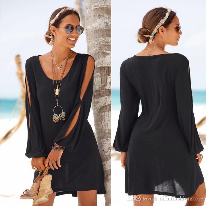 Mode-Frauen-beiläufiger O-Ansatz aushöhlen Hülsen-gerades Kleid Fest Strand-Art-Minikleid über Knie-Kleid