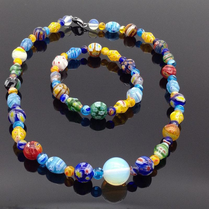 1 Satz von Mode tausend Blumen Glasperlenverbund Armbandhalskettenart- Anzug Perlen Schmuck DIY manuellen Anzug