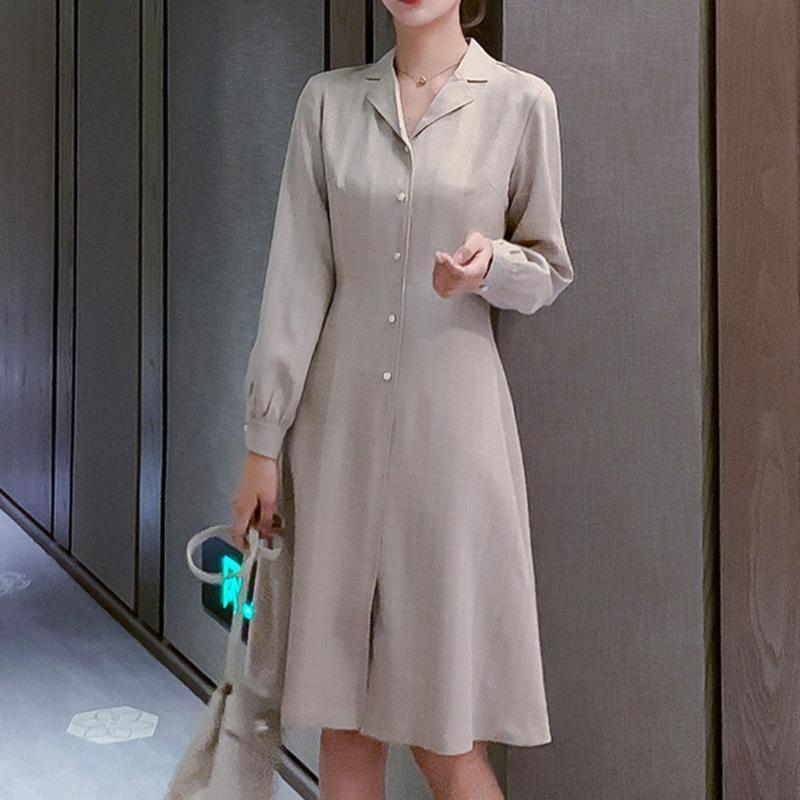 우아한 분홍색 포도 수확 우아한 복장 여자 봄 사무실 숙녀 파란 베이지 일 거리 저녁식사 한국 작풍 우연한 복장 레트로 2020
