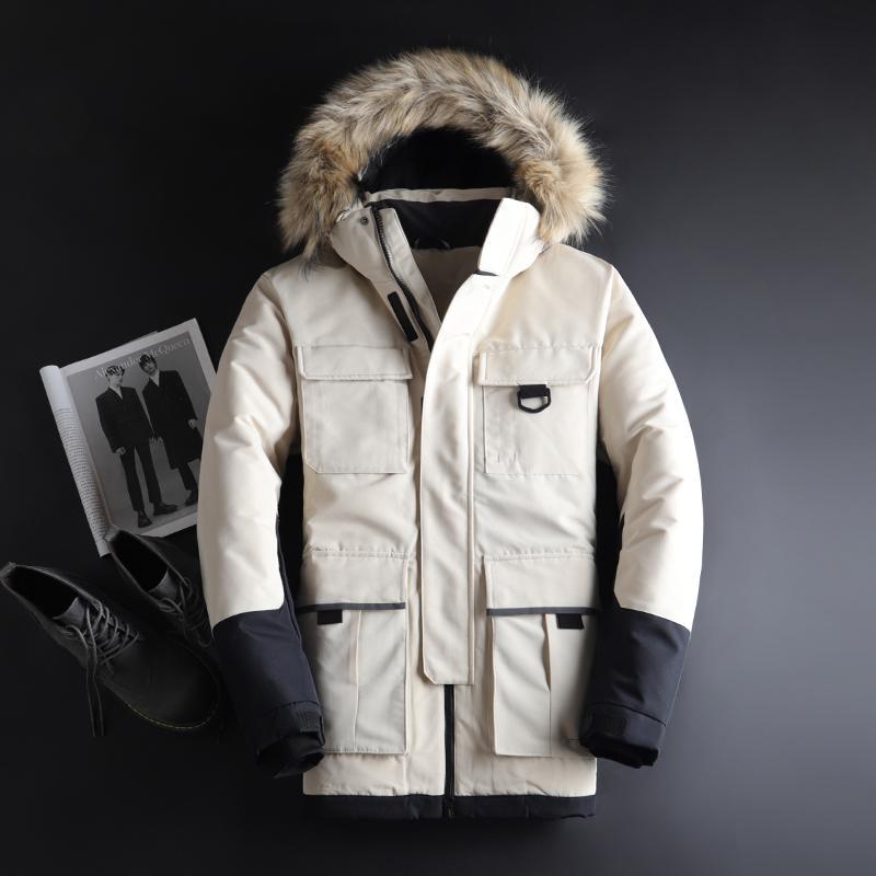 2019 Inverno da Juventude do Jacket Men Bonito New Inverno Down Jacket Men nova Seção Longa Tendência camuflagem roupas casuais