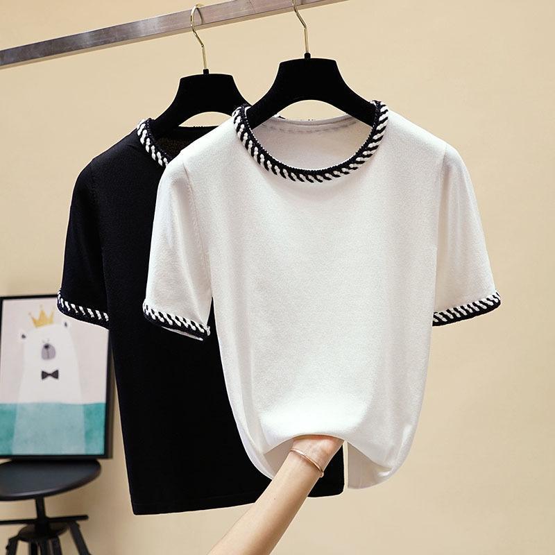 Lüks kadın t-shirt tasarımcı renk iplik örgü sınır yuvarlak boyun dikiş buz ipek kazak üst kısa kollu t-shirt kadın gelgit-2
