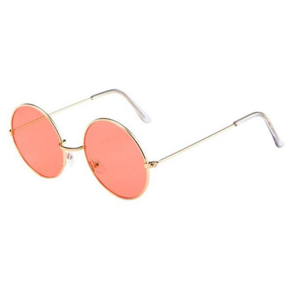 Weinlese-runde Sonnenbrille Frauen Ozean Farbe Objektiv Spiegel UV400 Sonnenbrille Weiblich Brand Design Metallrahmen Kreis Gläser Oculos