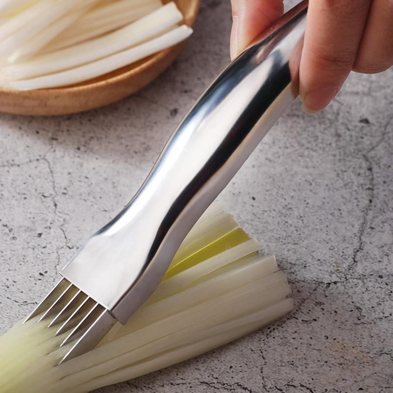 High Quality Stainless Steel Onion Cutter Restaurant Kitchen Tools Shredded Vegetable Slicers Onions Device Knife Kitchen Tools