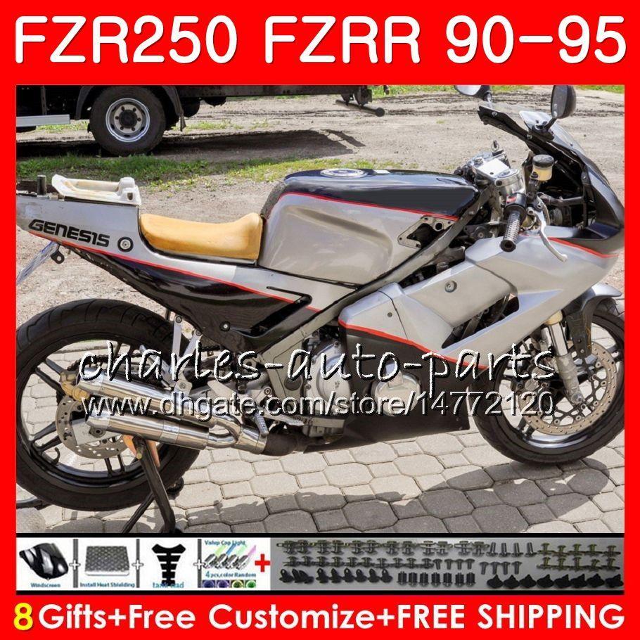 FZRR Per YAMAHA FZR250R FZR 250R FZR250 Nero bianco stock 90 91 92 93 94 95 124HM.28 FZR 250 FZR-250 1990 1991 1992 1993 1994 Carenature 1995