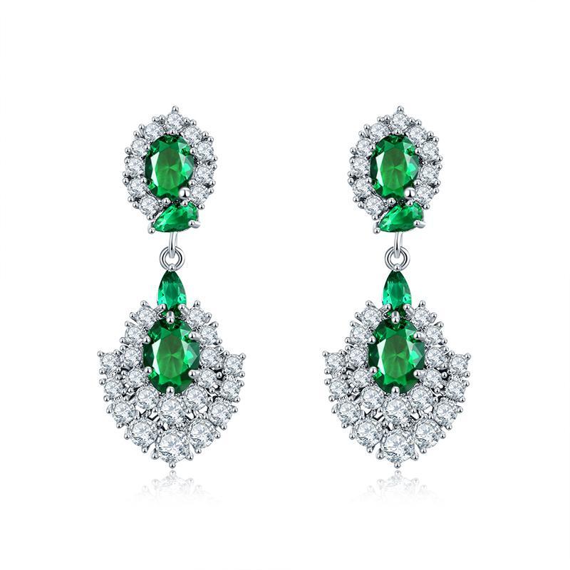 Marca pendientes de circonita CUBICA verde para mujer, pendientes geométricos de plata, joyería, Pins, regalos de navidad