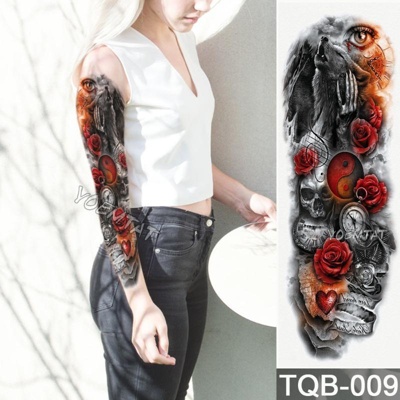 Новый 1 шт Временные татуировки наклейки Инь и Ян волчьи розы шаблон Полный цветок татуировки с Arm Body Art Большой Большой Фальшивая
