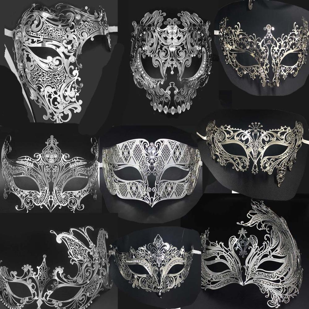 Silver Men/'s Smoking Venetian Metal Filigree Masquerade Mask Masked Ball Party