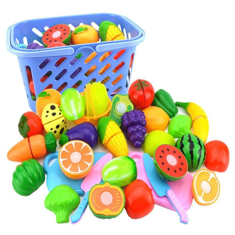 23 قطعة / المجموعة البلاستيك الفاكهة الخضار قطع لعبة التنمية المبكرة والتعليم لعبة للطفل الاطفال مطبخ لعب البلاستيك الغذاء لعبة