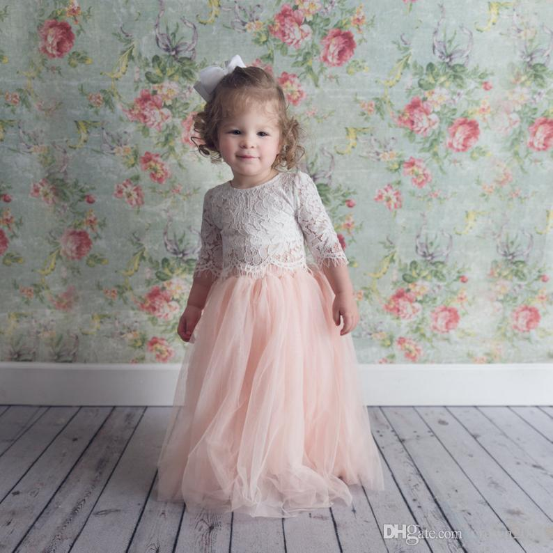 2020 Pink Two Pieces Lace Ball Gown Flower Girl Dresses 3/4 Long Sleeve Vintage Child Pageant Dresses Beautiful Flower Girl Wedding Dresses