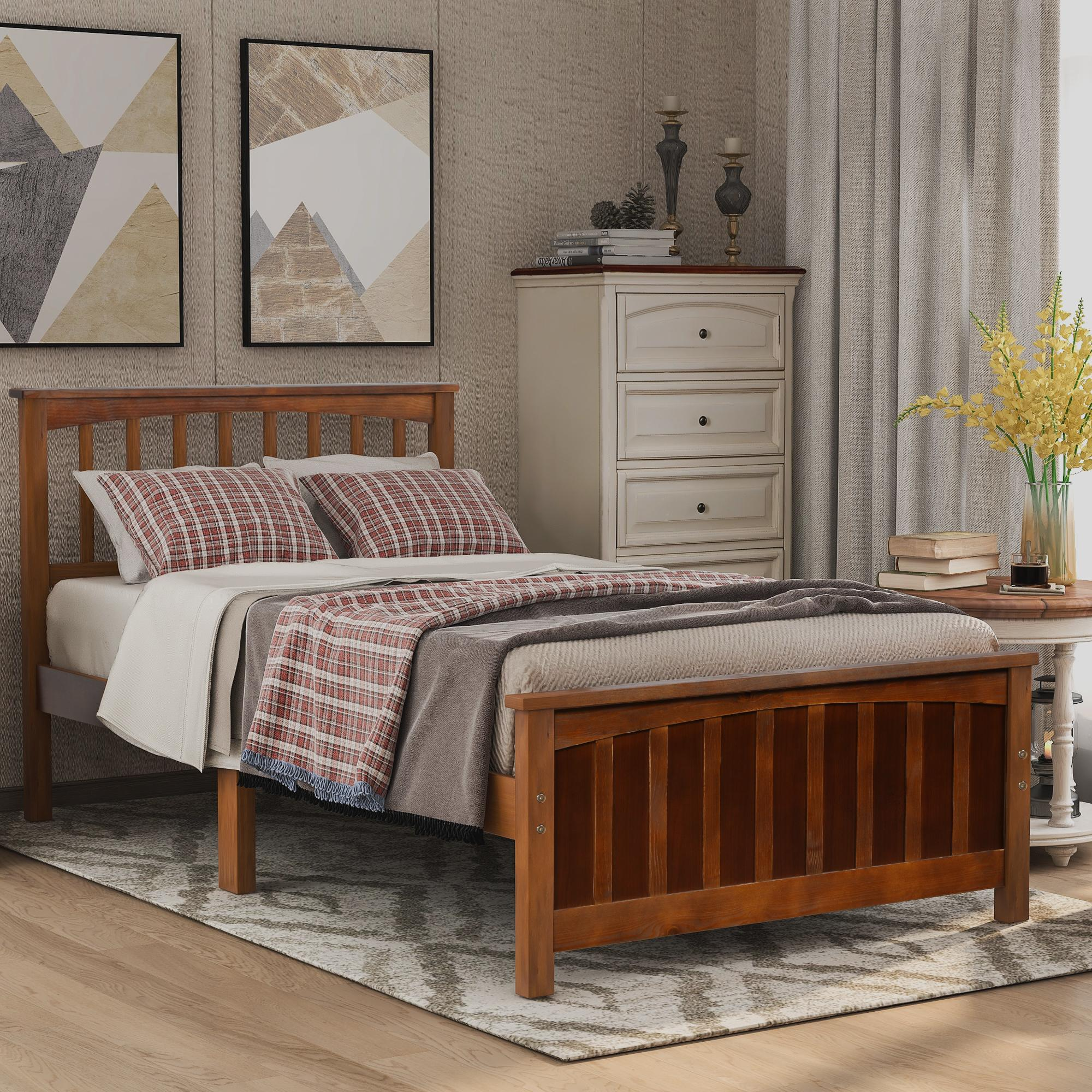 Picture of: 2020 Modern Wood Platform Bed Twin Size Bed Headboard Footboard Walnut White Espresso Bedroom Furniture Fast Shipping From Greatfurnishing 175 48 Dhgate Com
