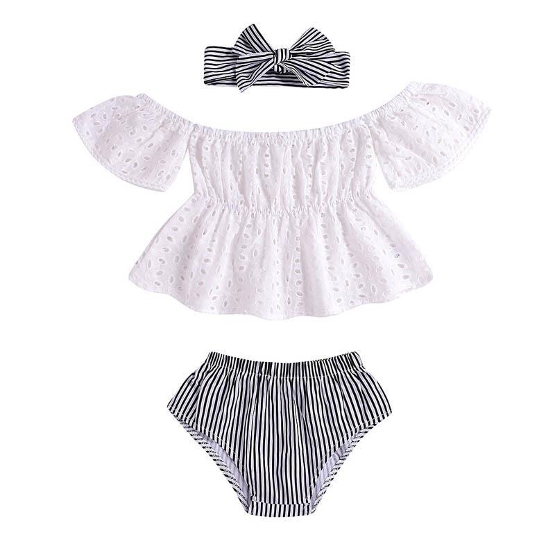 Ins nouveau-né bébé fille vêtements costume de bébé arcs bandeaux bébé + Tops + shorts 3 pcs Infant Outfits Filles ensembles Toddler Vêtements Infant Porter A3839