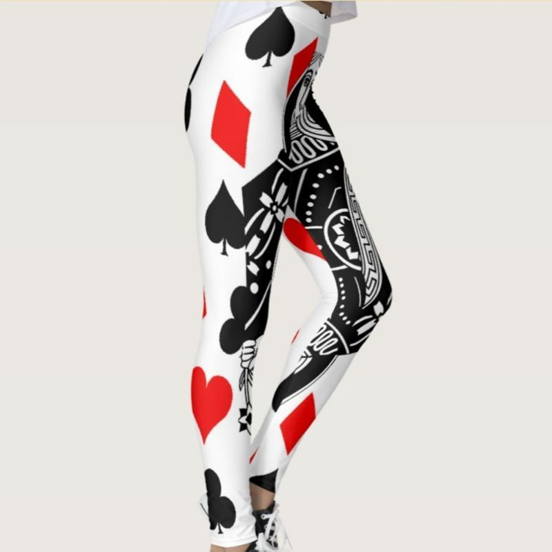 Quickitout Новое прибытие BlackWhite Poker с Sexy Red Heart в Женской Леггинсы Poker Даймонд Печать Тонкий Фитнес Брюки S-4XL