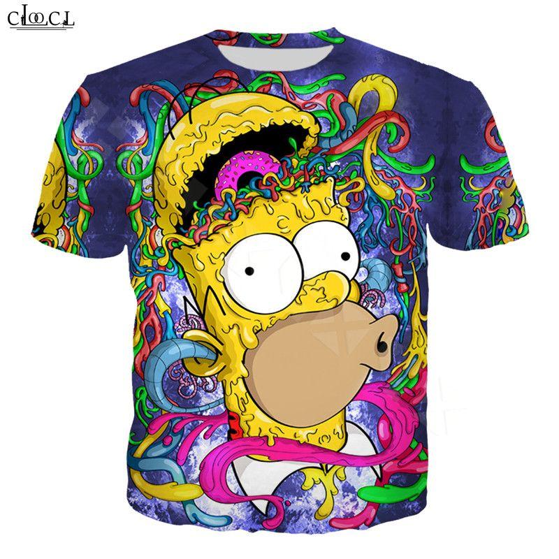 Karikatür Anime Simpsons Tişörtlü Erkekler Kadınlar 3D Homer J. Simpson Kısa Kollu Harajuku Çiftler Artı boyutu Moda Tops yazdır