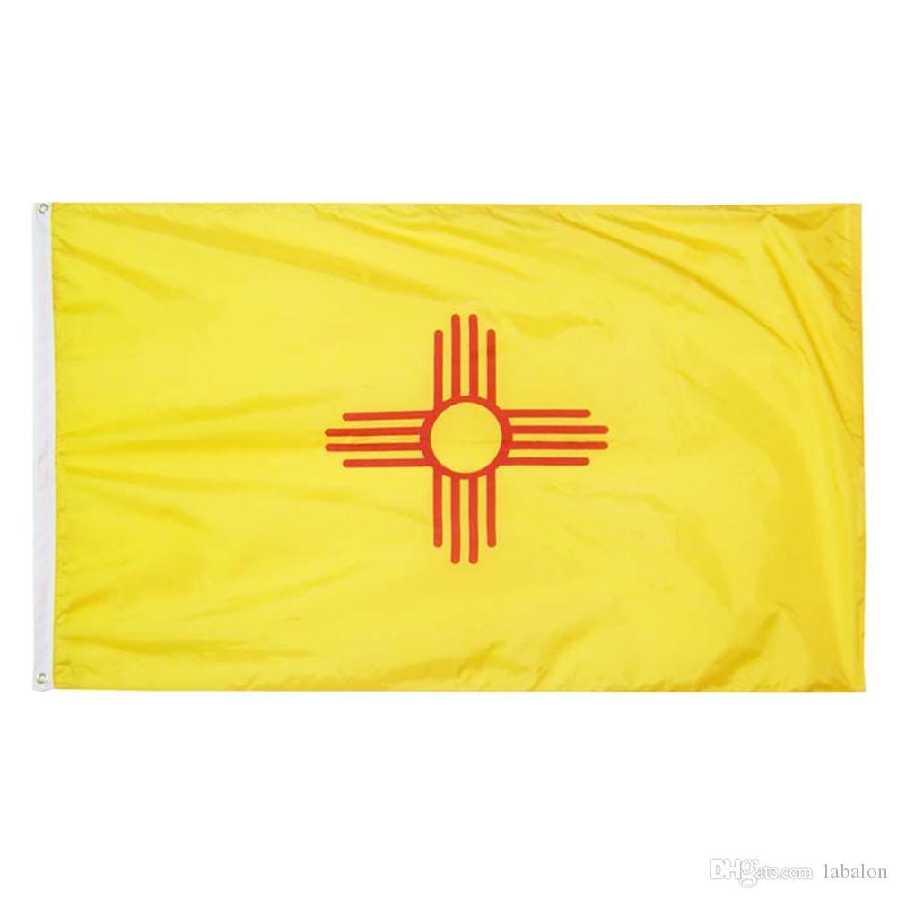 Staat New Mexiko-Flagge 3x5FT Banner 100D 150x90cm 100% Polyester Messingösen individuelle Flagge, freies Verschiffen