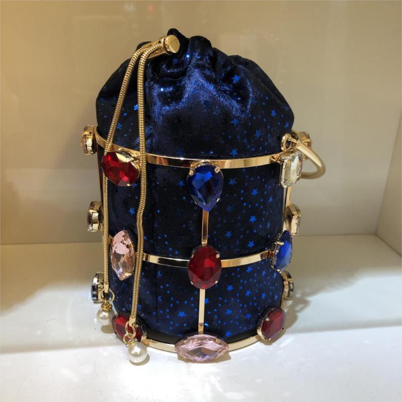 Diamante Balde colorido Evening Bag Mulheres Handmade oco Out Pérola frisada Jantar Handbag Clutch Bag Ladies