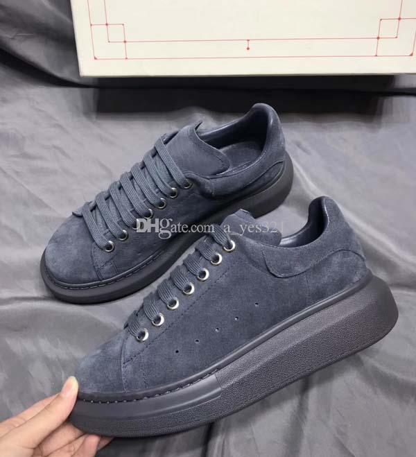2020Genuine couro de veludo preto cinza bege das mulheres dos homens Chaussures sapatos bonito Platform Casual Sneakers Designers Luxo Sapatos de couro S