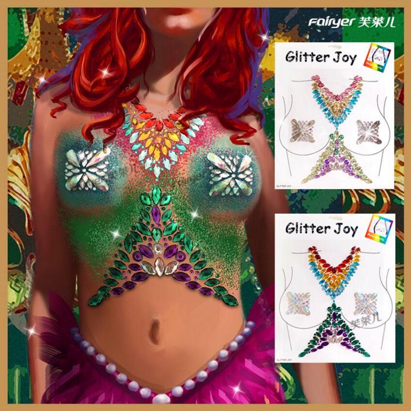 1 Sheet Crystal Chest Jewels Women Tattoo Glitter Sticker 3D Stage Rhinestone Flash Adhesive Face Party Decor Gem Body Paint Art
