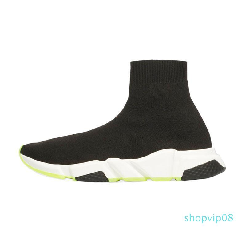 2019 new fashion Quality Knit Socks shoes speed trainer High Race Runnersmens women sneakers Black white Slip-on triple s Casual Shoes c27