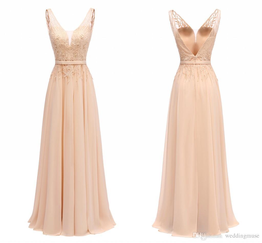 2021 V Yaka Şampanya Dantel Gelinlik Modelleri Bir Çizgi Uzun Şifon Aplikler Dantel Inci Boncuklu Örgün Düğün Parti Elbise Onur Elbise Hizmetçi