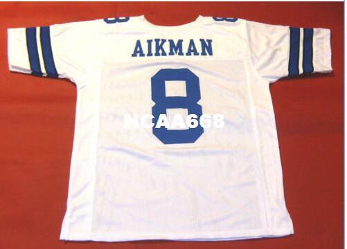 Homens CUSTOM # 8 TROY AIKMAN BRANCO RETRO Colégio tamanho Jersey s-4XL ou personalizado qualquer nome ou número de jersey