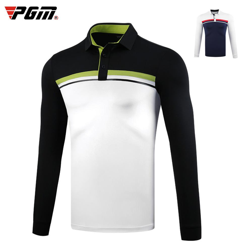 Hommes respirant Golf manches longues T-shirt Homme Sports de plein air chaud Hauts stand Automne Hiver doux Col D0835 Vêtements de golf