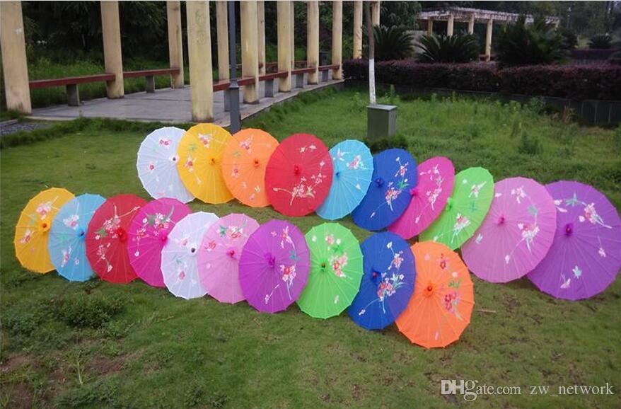 Japanese Chinese Oriental Parasol Wedding Props fabric Umbrella For Party Photography Decoration umbrella candy colors blank DIY personalize
