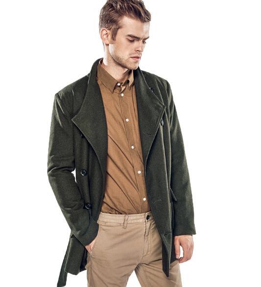 Mens Trench Coat Long Jacket Double Breasted Peacoat Formal Outwear Windbreaker