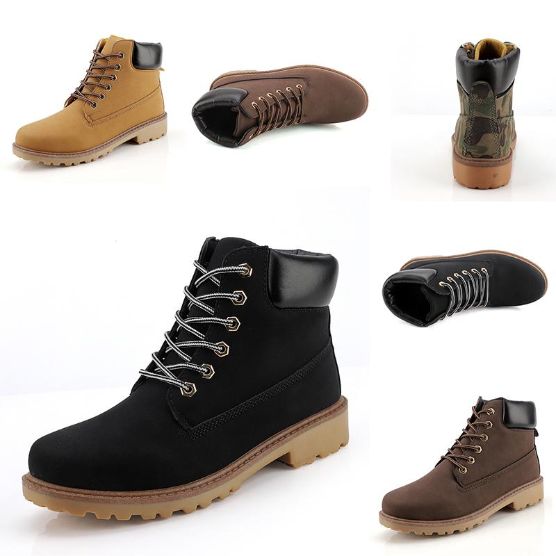 Cheap wholesale Fashion Leather Designer boots Men boots Camouflage black brown boots winter autumn Homemade brand Made in China size 39-44