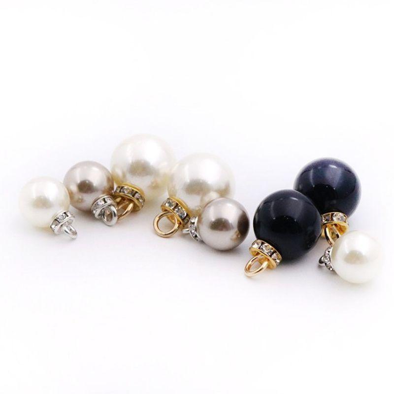 Botón 100 piezas de 10 mm-16 mm redondo con botón de diamante perla para mujer botón de la camisa y chaqueta de punto con botones decorativos agujero